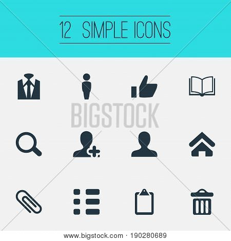 Vector Illustration Set Of Simple Conference Icons. Elements Business Style, Search, Open Book And Other Synonyms Paperclip, Stationary And Internet.