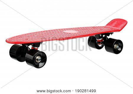 Red plastic skateboard isolated on white background