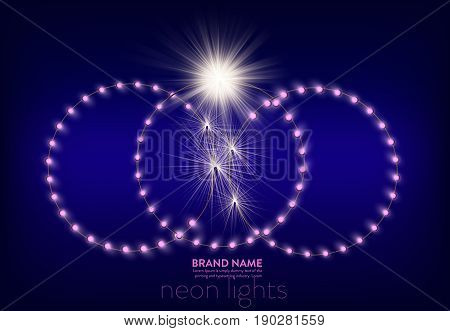 Vector illustration of a purple background with three circles of pink neon lights and light effect on the place of wire breakage. Banner, poster for advertising holiday discounts and sales