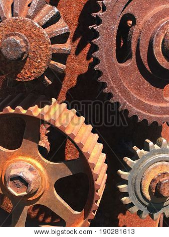 Mechanical collage made of gears for print or web