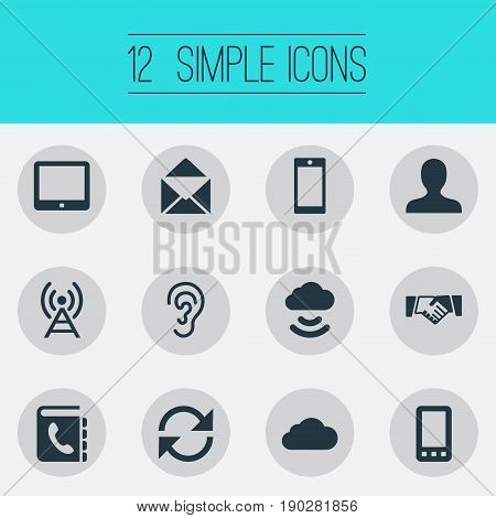 Vector Illustration Set Of Simple Transmission Icons. Elements Handshake, Cellphone, Remote Storage Synonyms Ear, Agreement And Contacts.