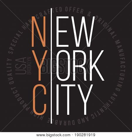 New York, Brooklyn Modern Typography For T-shirt Print. T-shirt Graphics