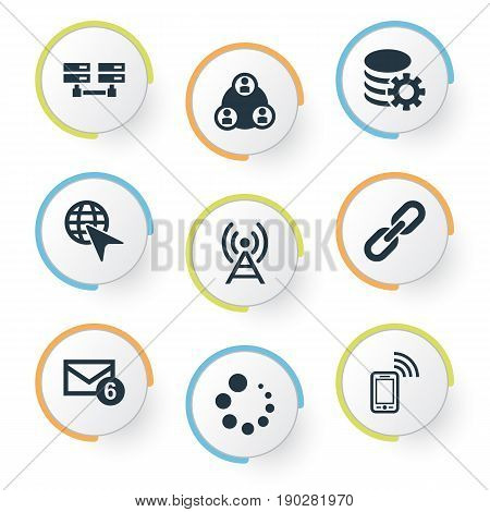 Vector Illustration Set Of Simple Network Icons. Elements Antenna, Data Center, Inbox And Other Synonyms Database, Progress And Link.