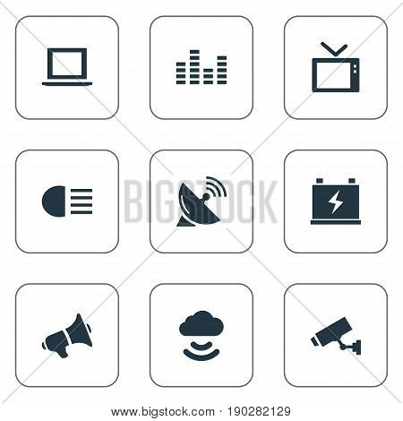 Vector Illustration Set Of Simple Technology Icons. Elements Accumulator, Cctv, Dipped Light And Other Synonyms Tv, Equalizer And Notebook.