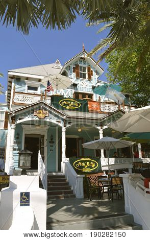 Key West Florida Keys Florida USA - May 15 2017 : Hard Rock Cafe in Key West a modern theme restaurant in a historical building
