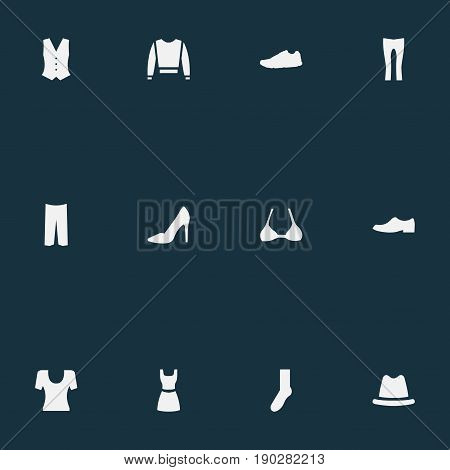 Vector Illustration Set Of Simple Garments Icons. Elements Knickerbockers, Elegance, Footwear And Other Synonyms Sweatshirt, Dress And Attire.