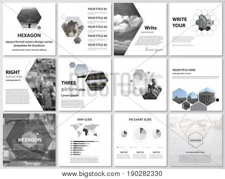 The minimalistic vector illustration of the editable layout of square format covers design templates for brochure, flyer, magazine. Abstract polygonal modern style with hexagons.