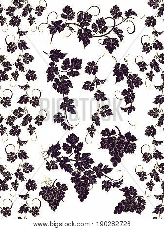 Seamless ornament and design elements with grapevines.