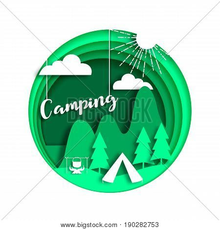 Summer camping background with tourist tent, forest, mountains, bonfire, sun. Cut paper style, vector illustration.