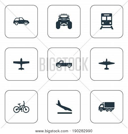Vector Illustration Set Of Simple Shipment Icons. Elements Airliner, Metro, Jeep And Other Synonyms Landing, Subway And Van.