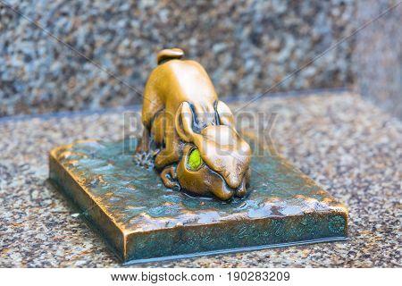 Nuremberg, Germany - December 24, 2016: detail of Rabbit sculpture Der Hase, tribute to Albrecht Durer
