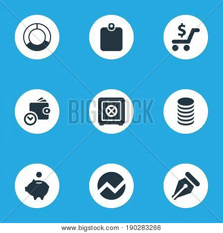 Vector Illustration Set Of Simple Finance Icons. Elements Authentication, Earnings, Circle Diagram And Other Synonyms Spending, Saving And Payment.