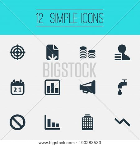 Vector Illustration Set Of Simple Impasse Icons. Elements Aim, Agenda, Info Graph And Other Synonyms Skyscraper, Cents And Colums.