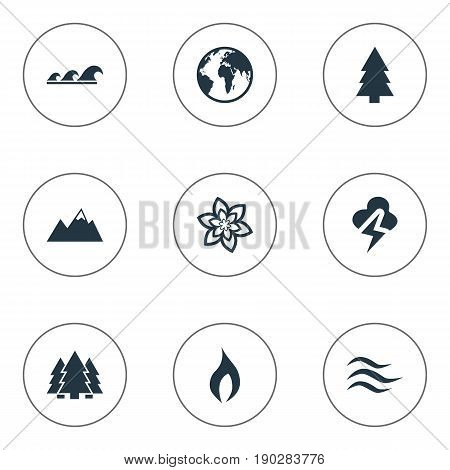 Vector Illustration Set Of Simple Bio Icons. Elements Air, Lightning, Jungle And Other Synonyms Ignite, Forecast And Mountains.