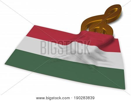 clef symbol symbol and hungarian flag - 3d rendering