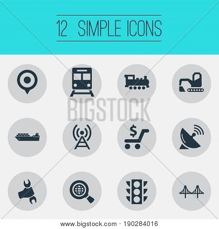 Vector Illustration Set Of Simple Infrastructure Icons. Elements Bulldozer, Cargo Shipping, Radar And Other Synonyms Stoplight, Rail And Antenna.