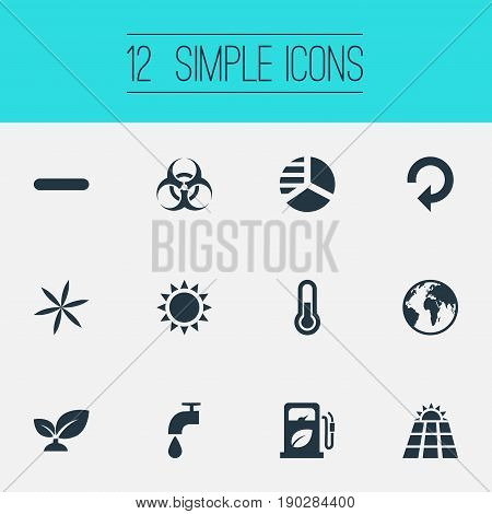 Vector Illustration Set Of Simple Power Icons. Elements Biology Peril, Daylight, Sun Power And Other Synonyms Water, Floret And Weed.