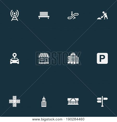 Vector Illustration Set Of Simple Public Icons. Elements Car Park, Signal Transmitter, Kiosk And Other Synonyms Academy, Crossroad And Under.