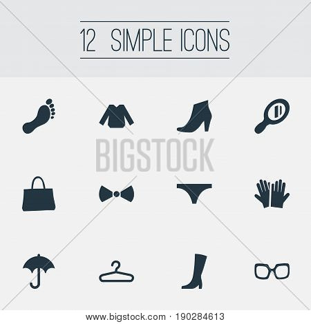 Vector Illustration Set Of Simple Wardrobe Icons. Elements Formal Wear, String, Eyeglasses And Other Synonyms Clothes, String And Umbrella.