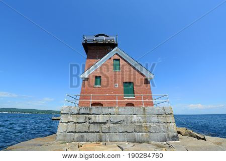 Rockland Harbor Breakwater Lighthouse was built in 1902 in Rockland, Maine, USA. This building was registered National Historic Place since 1981.