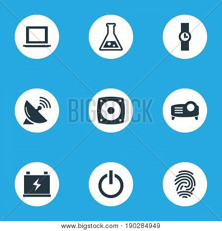 Vector Illustration Set Of Simple Device Icons. Elements Accumulator, Thumbprint, Hand Clock Synonyms Science, Presentation And Woofer.