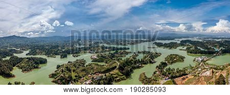 Panorama of Guatape in Antioquia land and islands Colombia