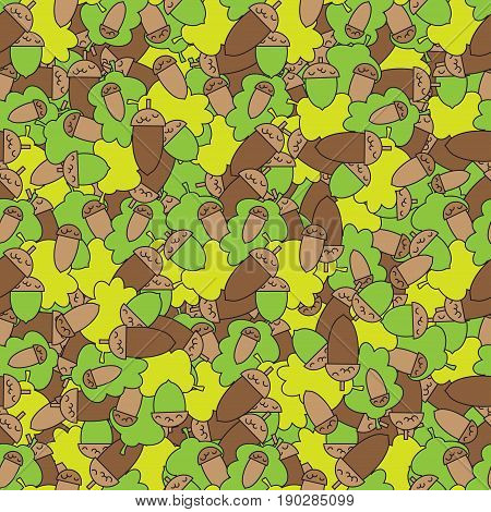 Geometric seamless pattern in ecological style with oak leaves and acorns. Wallpaper. Wrapping paper. Scrapbook. Vector illustration. Background. Graphic texture for your design.