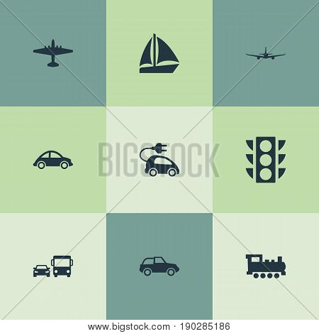 Vector Illustration Set Of Simple Transport Icons. Elements Automotive, Semaphore, Aeroplane And Other Synonyms Transport, Automobile And Hybrid.