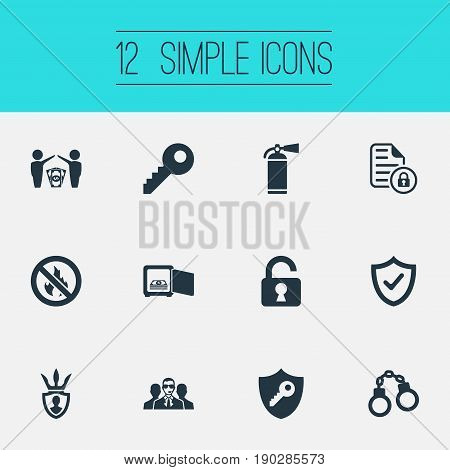 Vector Illustration Set Of Simple Safety Icons. Elements Agent, Dollar, Protected Document And Other Synonyms Shackle, Unlock And Check.