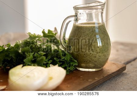 Green Smoothie In A Jar, Green Onions, Lettuce, Rustic Style