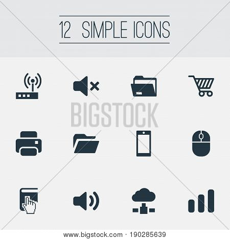 Vector Illustration Set Of Simple Device Icons. Elements Dossier, Silence, Connection And Other Synonyms Silence, Folder And Dossier.