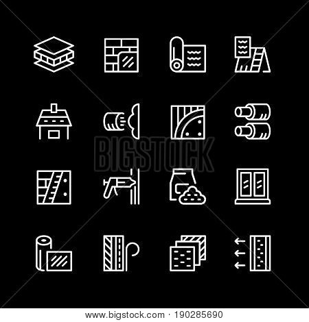 Set line icons of insulation isolated on black. Vector illustration