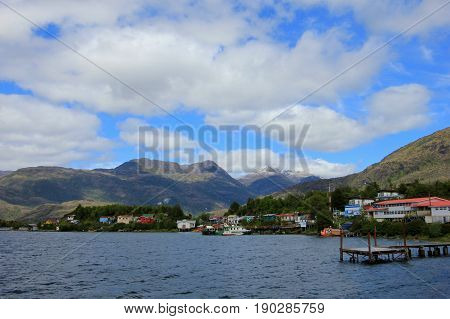 The isolated Puerto Eden in Wellington Islands, fiords of southern Chile, Province Ultima Esparanza