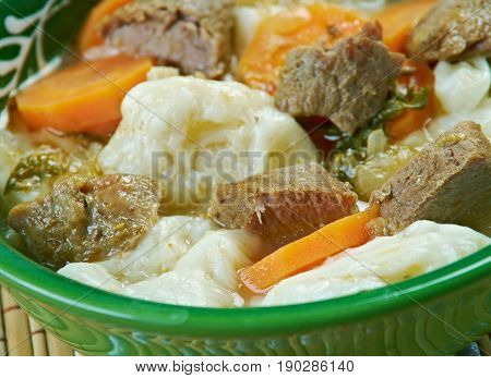 kullama - Bashkir traditional dish. close up