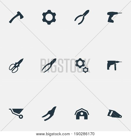 Vector Illustration Set Of Simple Architecture Icons. Elements Pruning Shears, Cart, Clipping Tool And Other Synonyms Cutters, Engineering And Clipping.