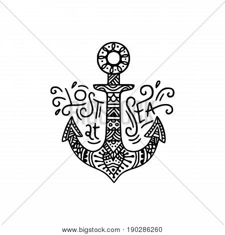 Hand Drawn Anchor With Lettering