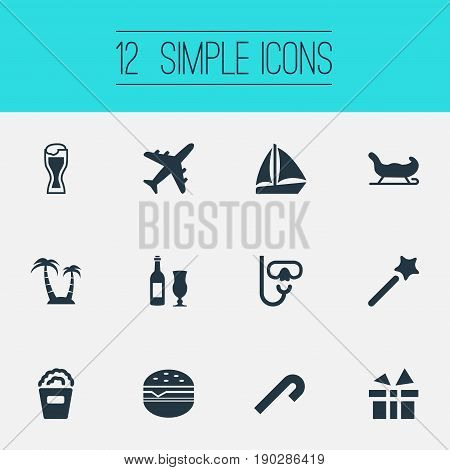Vector Illustration Set Of Simple  Icons. Elements Boat, Sleigh, Surprise And Other Synonyms Diving, Glass And Wand.