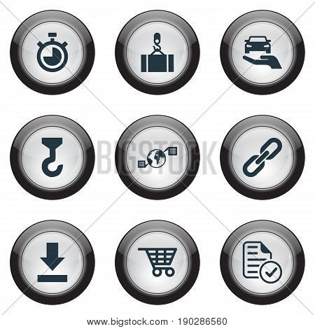 Vector Illustration Set Of Simple Systematization Icons. Elements Bottom Side, Hook, Global Trade And Other Synonyms Link, Measure And Chain.