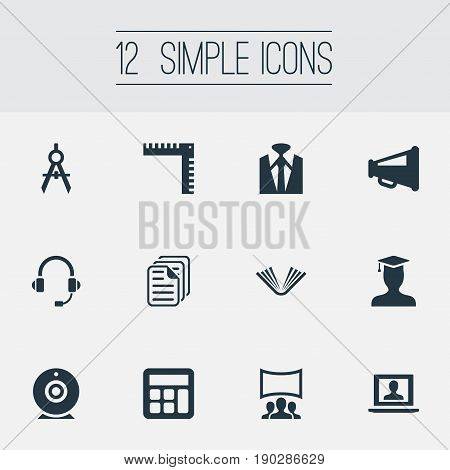 Vector Illustration Set Of Simple Conference Icons. Elements Architect Drafting, Demonstration, Announcement And Other Synonyms Training, School And Architect.