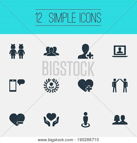 Vector Illustration Set Of Simple Mates Icons. Elements Add Friend, Crowd, Mates And Other Synonyms Social, Add And Postage.