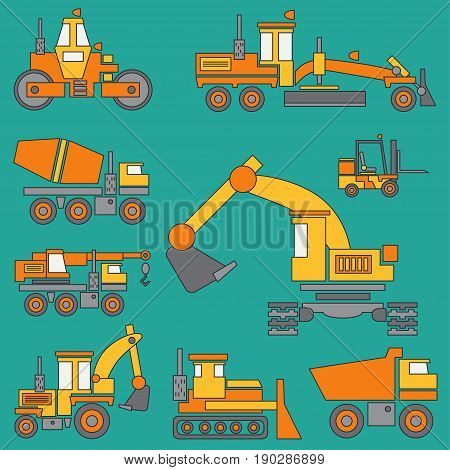 Line color vector icon construction machinery set with bulldozer, crane, truck, excavator, forklift, cement mixer, tractor, roller, grader Industrial style
