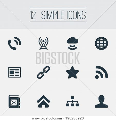 Vector Illustration Set Of Simple Social Icons. Elements Handset, Link, Organiser Synonyms Networking, Relationship And Storage.