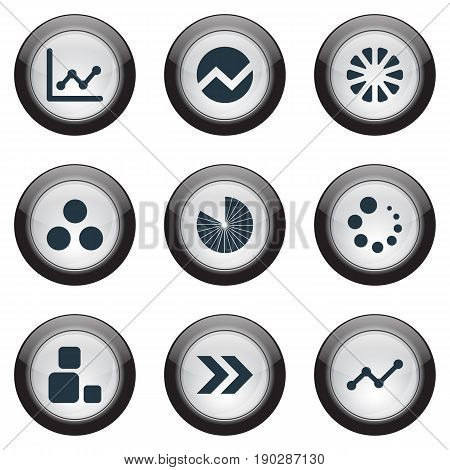 Vector Illustration Set Of Simple Diagram Icons. Elements Ahead, Part, Square And Other Synonyms Diagram, Process And Plural.