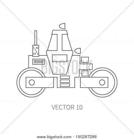 Line flat vector icon construction machinery - roller. Industrial style. Road. Construction machinery. Building. Business. Engineering. Diesel. Power Illustration texture for design wallpaper