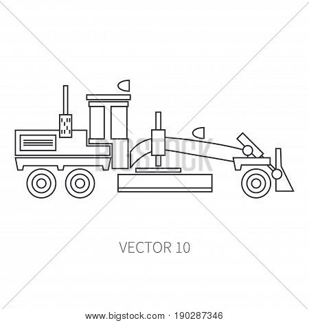 Line flat vector icon construction machinery road scraper. Industrial style. Construction machinery. Building. Business. Engineering. Diesel. Power. Illustration texture for design, wallpaper