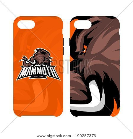Furious woolly mammoth head sport vector logo concept smart phone case isolated on white background.  Modern mascot team badge design. Premium quality wild animal cell phone cover illustration.