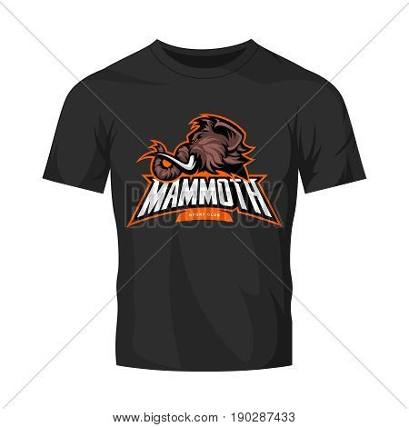 Furious woolly mammoth head sport vector logo concept isolated on black t-shirt mock up.  Modern professional mascot team badge design. Premium quality wild animal tee print illustration.