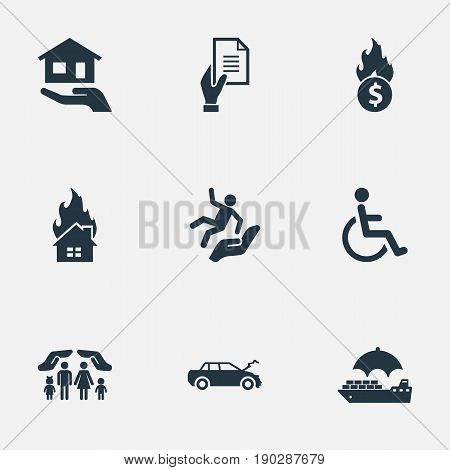 Vector Illustration Set Of Simple Safeguard Icons. Elements Agreement, Heat, Slide Down And Other Synonyms Collision, Falling And Cruise.