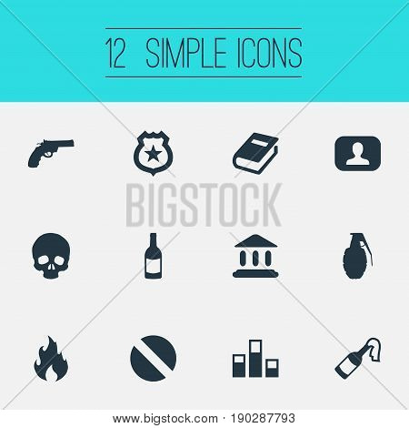 Vector Illustration Set Of Simple Police Icons. Elements Bottle, Skeleton, Policeman Star And Other Synonyms Blaze, Bone And Document.