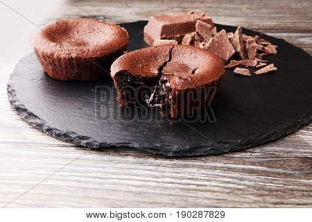 Delicious Chocolate Cakes On Wooden Background Chocolate Brownie